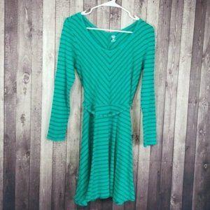Old Navy green chevron stripe long sleeve dress